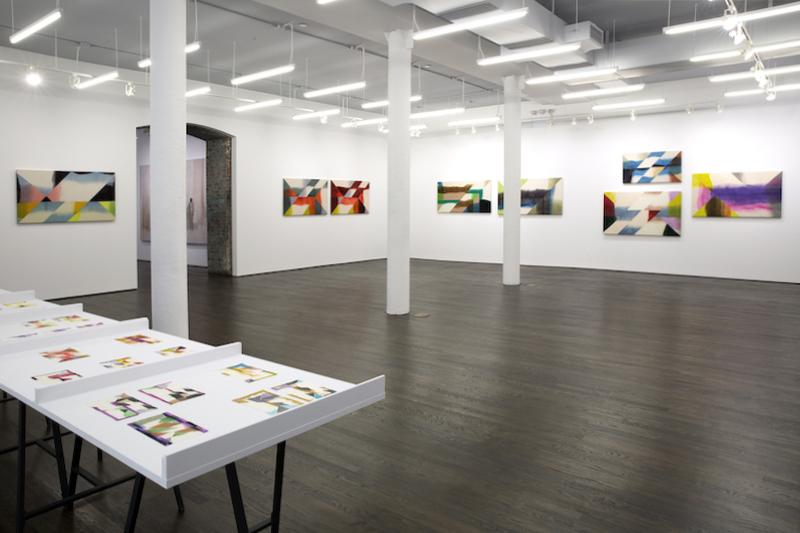 Wilder Alison, installation view, 2019-2020 (View of a gallery with three white columns down the middle. On the walls in the background there are eight large rectangular, vivid paintings on wool: three paintings installed on the left wall and five on the right. In the foreground of the image in the left lower corner is a partial view of a long table on which similarly formatted and patterned but much smaller works on paper are laid out in groups. All the paintings are made of dyed substrates that have been cut and re-sewn resulting in seams dividing their landscape orientation surfaces into triangles and rhombuses. The sharp cut off of color at the seams are contrasted by the organic faded edges of the dyed colors.)
