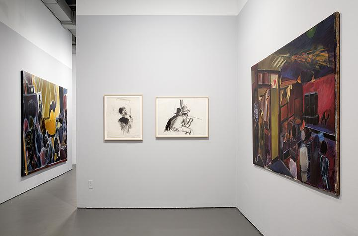 Three works installed on adjacent walls: the painting IN THE HOUSE OF DUB on the right wall and the smaller drawings HOME BOY and TOASTER on the back wall.