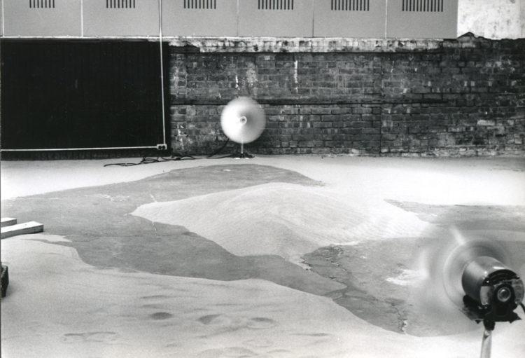 """Installation view of """"Alice Aycock: Sand/Fans,"""" 1971"""