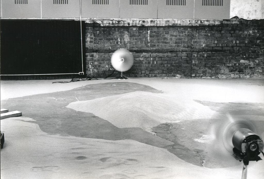 "Installation view of ""Alice Aycock: Sand/Fans,"" 1971"