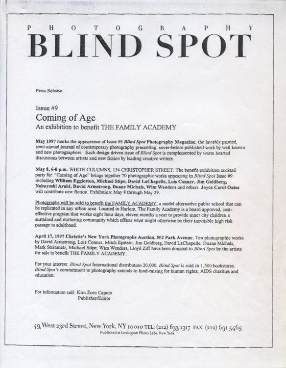 "Press release for ""Blind Spot, Coming of Age: An exhibition to benefit The Family Academy"""