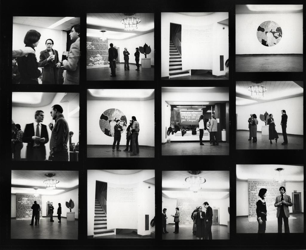 "Contact sheets of installation views for ""Everyday Business: A Benefit Exhibition"""