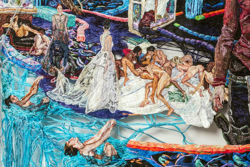 Two people standing in gowns, as though being fitted for a runway presentation. Another two at the edge of the scene seem to be about to swim off a waterfall. All figures depicted in the work appear to be women.