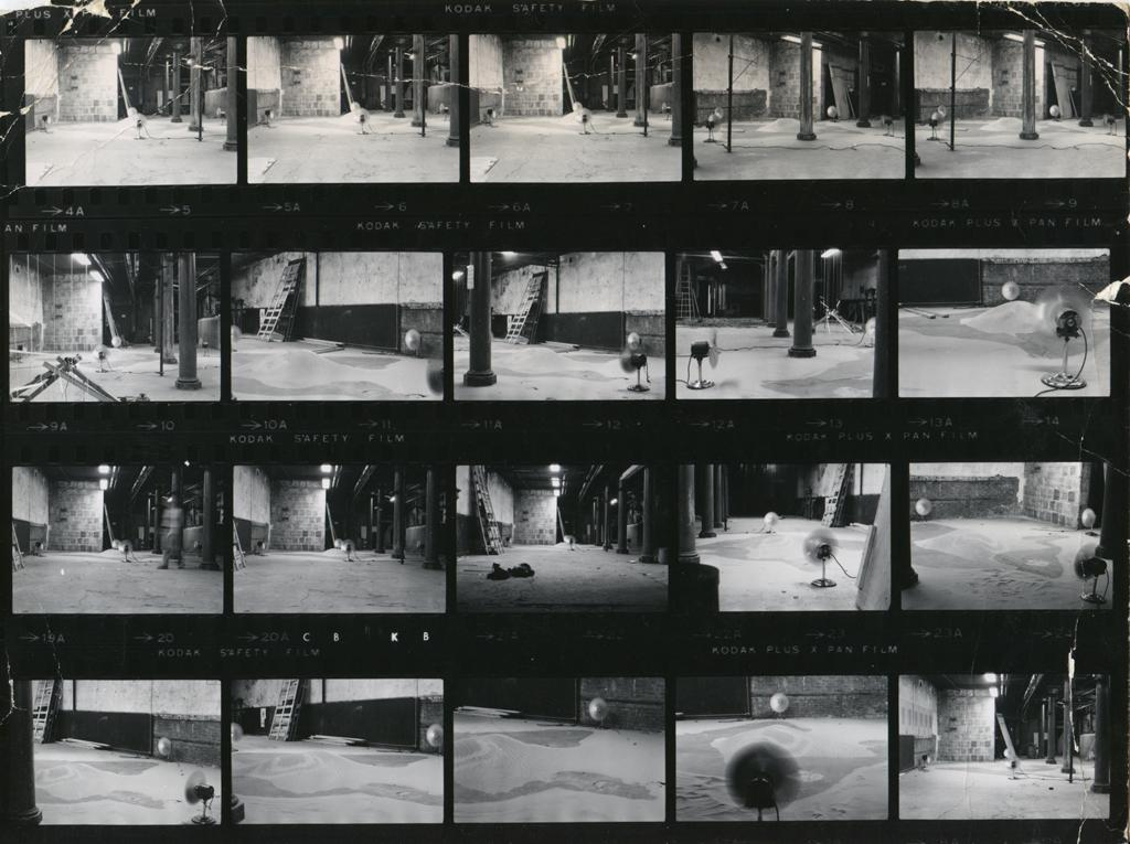 """Installation view photo contact sheets from """"Alice Aycock: Sand/Fans,"""" 1971"""