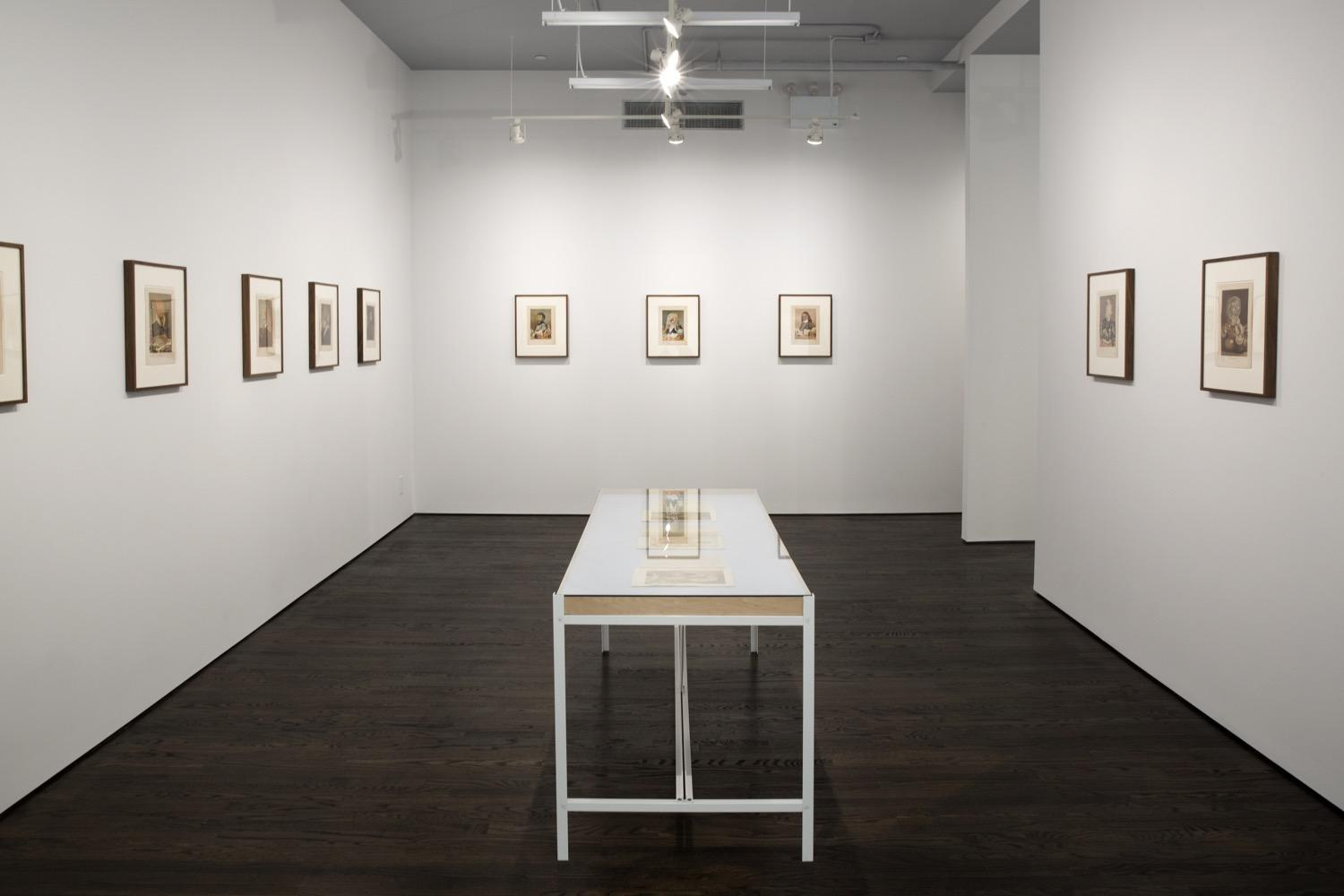Dr. Lakra, installation view, 2018 (Nine collages identically sized are installed on three walls in a uniform row: four on the left wall, three on the back, and two on the right. In the center of the room there is a vitrine that displays three additional collages.)