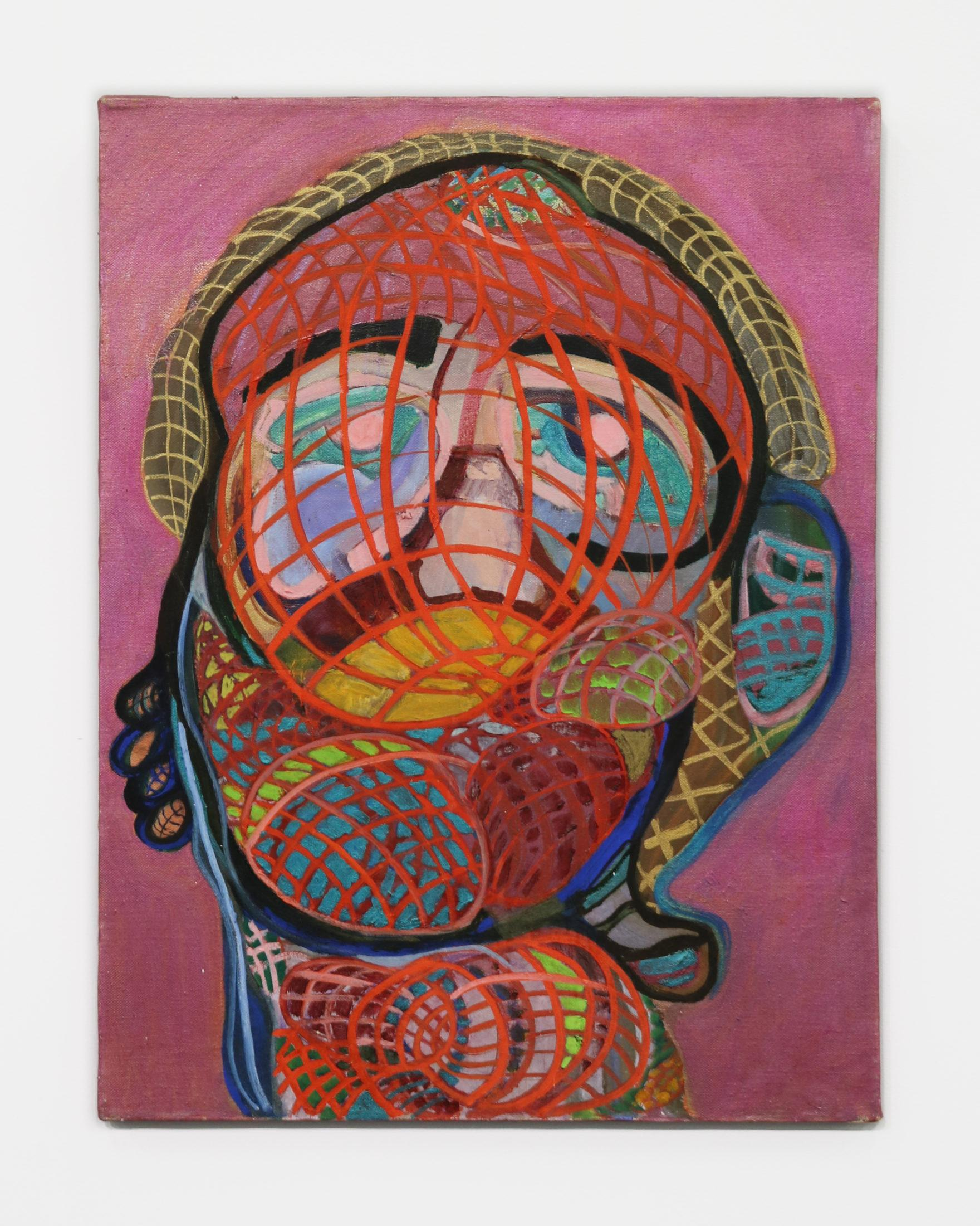 Norma Tanega Illness, 1997-2004 Oil on canvas 24 x 18 in. (A colorful masked head intertwined with woven lines that create patterns across the figure's face.)