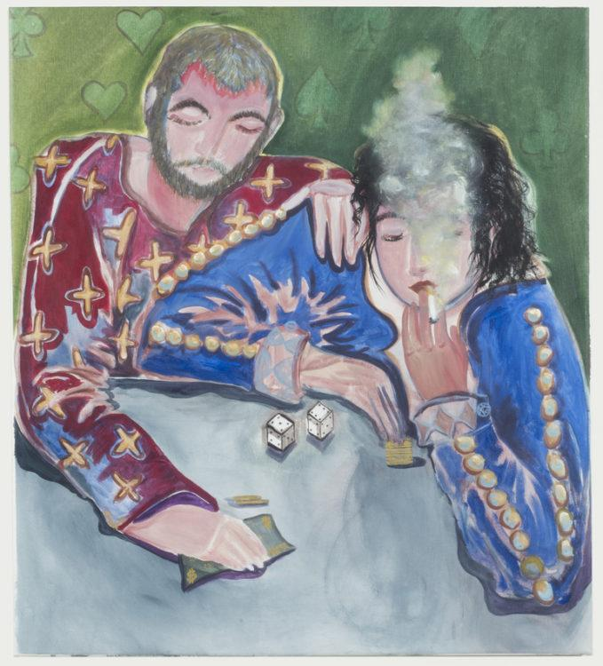 Two figures gambling with dice against a background decorated with card suit symbols. The figure on the right smokes a cigarette. They wear colorful clothes with gold detailing.