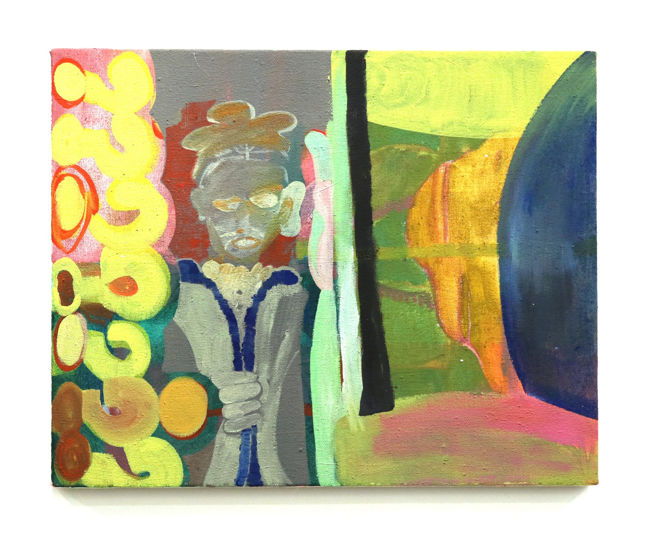 A figure places their cartoonishly enlarged ear against the left side of a wall. On the other side, large abstract forms are visible. Large question marks fill up the left edge of the painting.